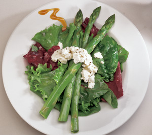 Baked Goat Cheese and Asparagus Salad with Raspberry Walnut Splash ...