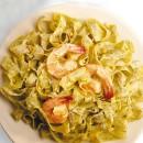 Creamy Pesto with Jumbo Shrimp on Fettuccine