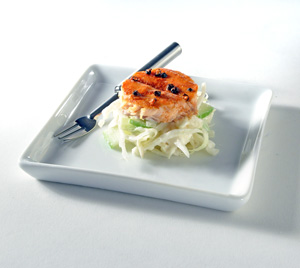 cedar-planked maple salmon with fennel coleslaw